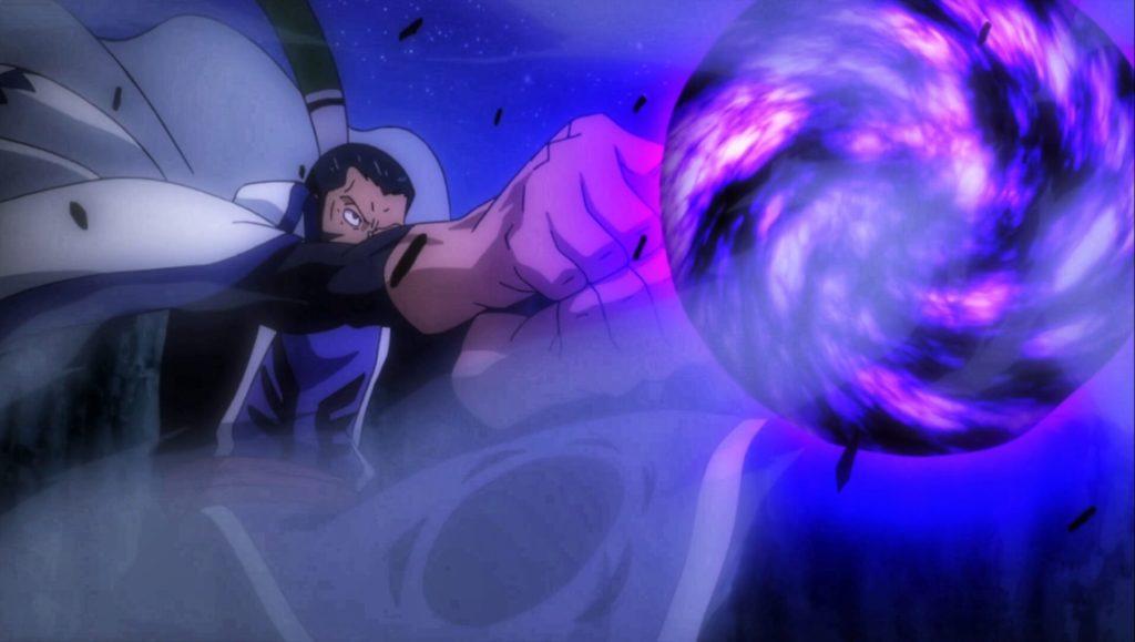 Bluenote activating his Blackhole spell to kill Natsu