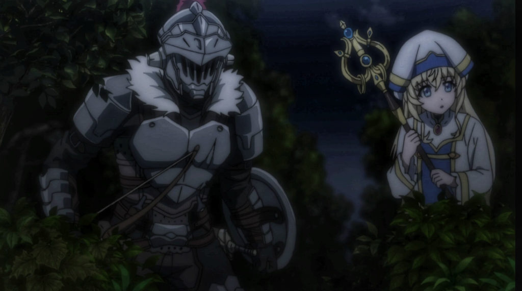 Goblin Slayer and Priestess in their mission