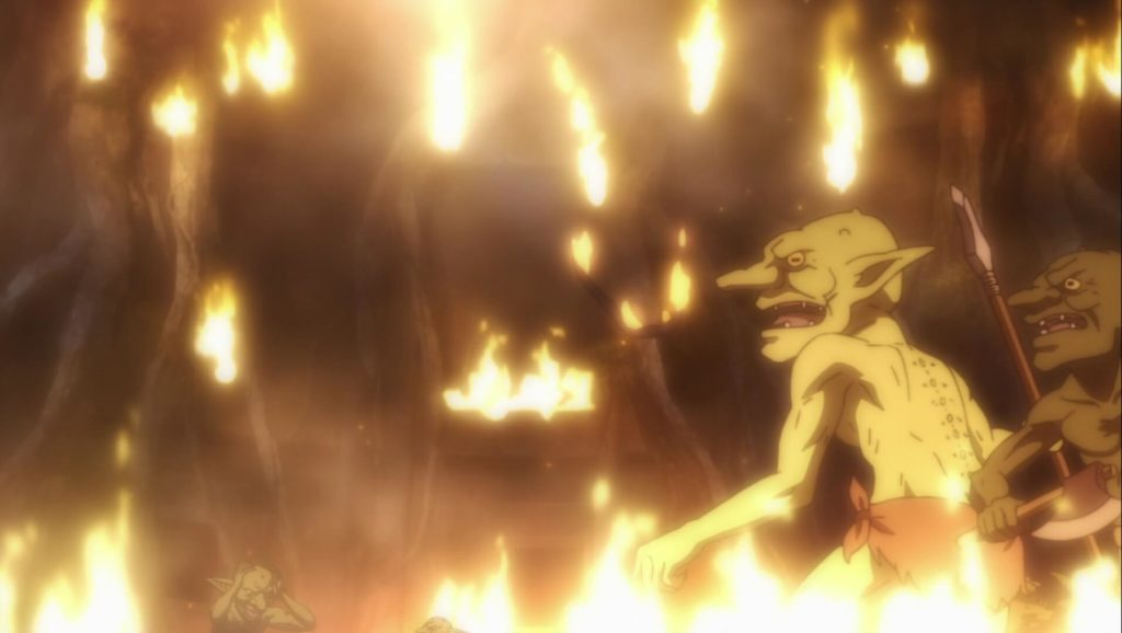 Goblin Slayer setting fire