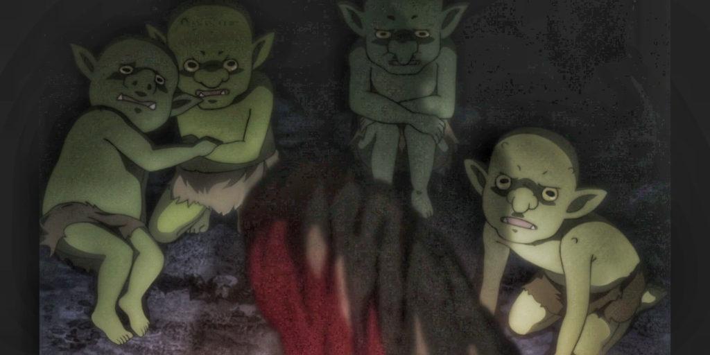 Goblin Slayer killing the goblin Babies