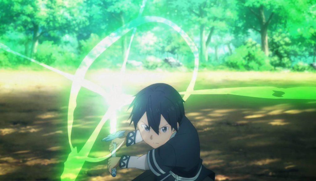 Kirito using the Sword