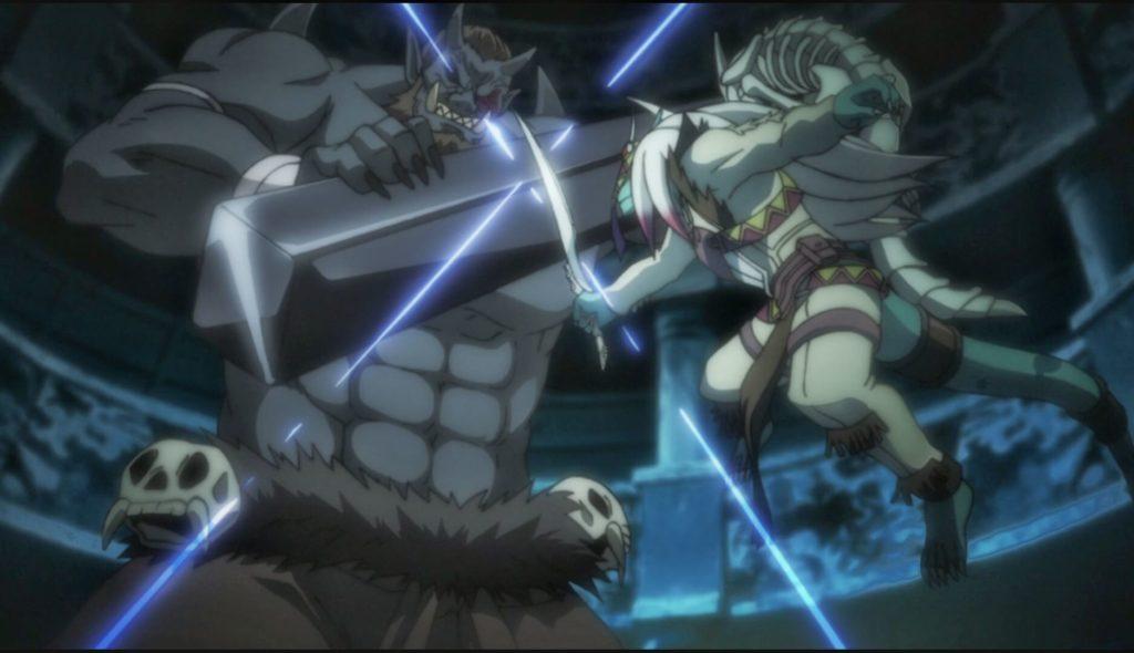 Lizard-man Dwarf fighting with Ogre