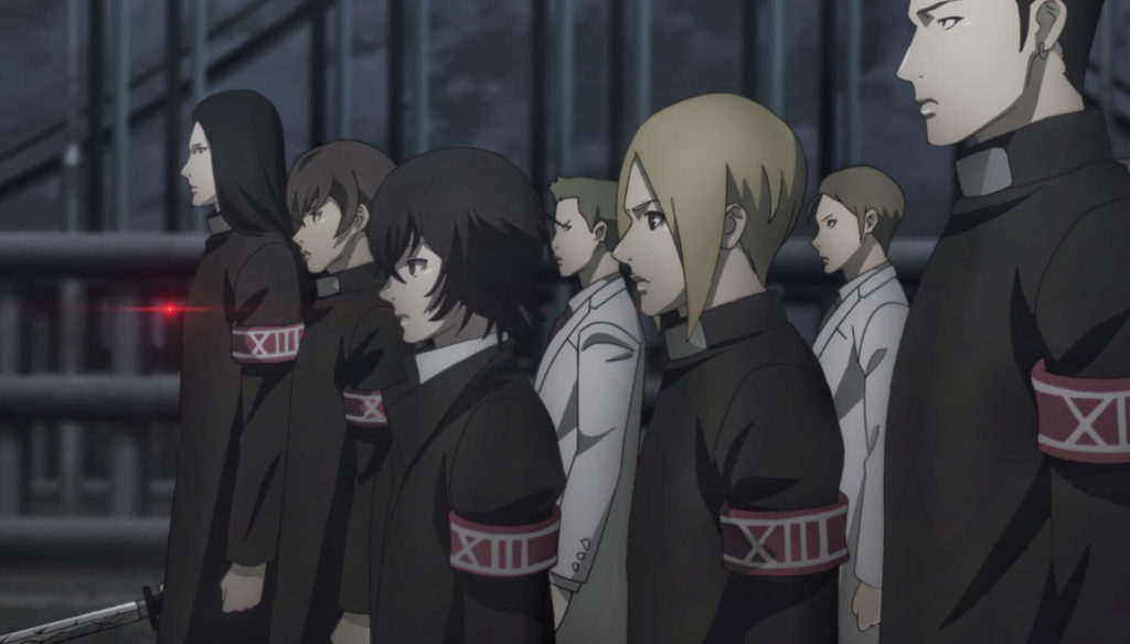 Juuzou and his team members before fighting with the clowns